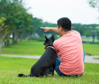 Man Talking to Dog
