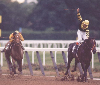 Jean Cruguet rides Seattle Slew to victory