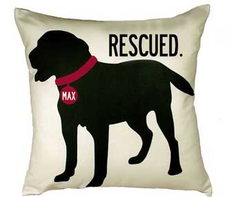 pillow with dog silhouette