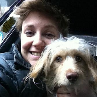 lena dunham with dog