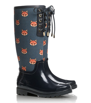 Tory Burch Lace-up Fox Rainboots
