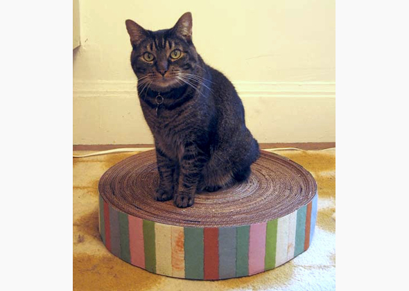cat scratching pad made from recycled cardboard