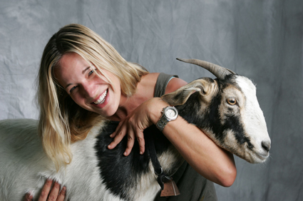 Patty Khuly and her goat