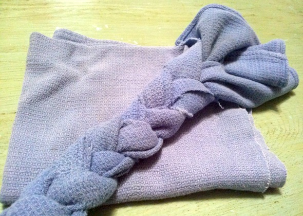 DIY dog toy made from old kitchen towel