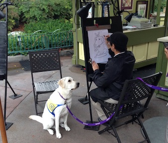 Yahoo, a service dog in training, posed for a caricature in Disneyland.