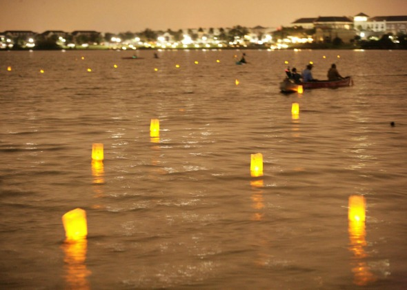 floating lanterns on water