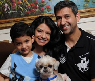 Zahan, Ashifa and Zahur Lalji were happily reunited with their missing dog, London.