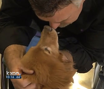 Romeo is happily reunited with his owner, Mike Stotts.