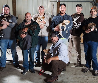 A mother dog and her seven puppies were rescued by a group of guys on a bachelor weekend.