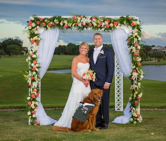 Gabe, a Golden Retriever and service dog, served as best man in the wedding of Army veteran Justin Lansford and Carol Balmes.