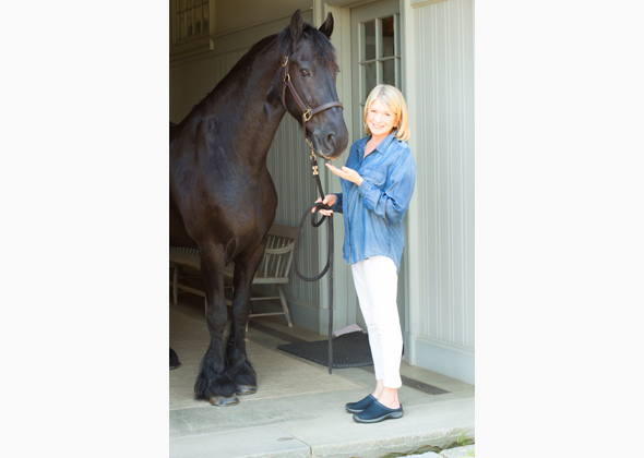 Martha Stewart poses with horse