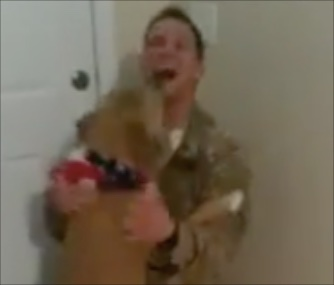 A video of Simba's reunion with his soldier has gone viral.