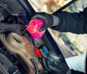Pouring antifreeze into car