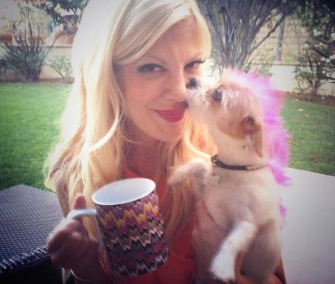 Tori Spelling joined the Brew Buddies by Brim campaign by Tweeting this photo of herself and her pooch.
