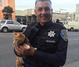 Police in San Francisco say a man's cat helped them convince him not to jump from a third-story window.