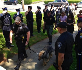Plymouth, Mass., police honor Kaiser, a K9 officer.