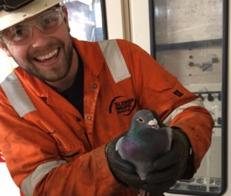 Kevin Mitchell holds Pedro, a pigeon rescued from a North Sea oil rig.