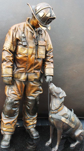 The National Fire Dog Monument will be on display at a Washington, D.C., fire station.