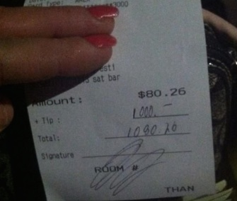 Christina Summitt, a bartender at a New Jersey Holiday Inn, got a $1,000 tip from a customer who wanted to help pay for her dog's surgery.