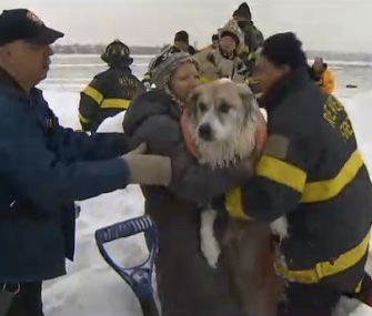 Firefighters in Revere, Massachusetts, rescued a man and his two dogs from an icy marsh Thursday.
