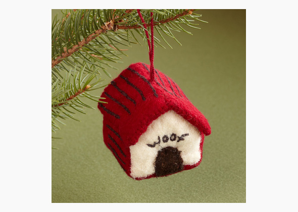 Felted Dog House Ornament