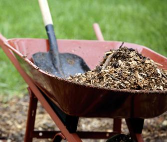 wheelbarrow full of mulch