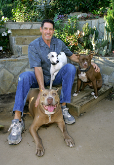Dr. Michelson and some of his dogs