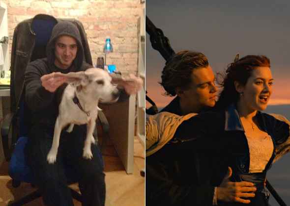 Dog reenacts scene from 'Titanic'