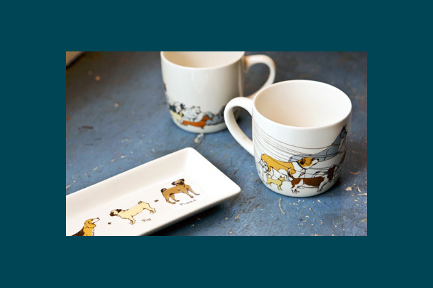 Dog Walker Mug and Puggle Dog Tray