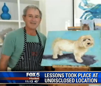 President George W. Bush stands with one of his dog paintings.