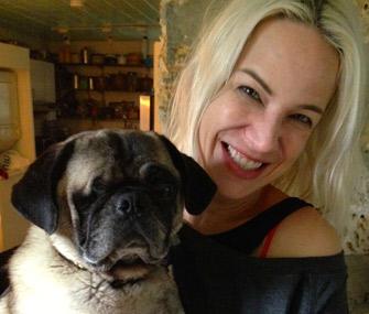 Dr. Patty Khuly with her dog, Slumdog