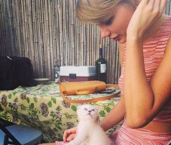 Singer Taylor Swift posted this photo of herself with her kitten Oliva Benson on Instagram.
