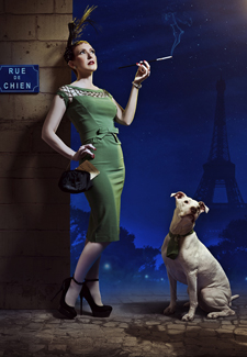 pinup girl with pitbull