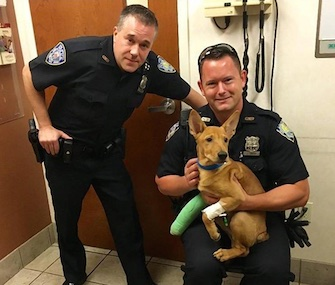 Port Authority Police Officers Fred Corrubia, left, and Jonathan Harder saved 6-month-old Ronin.