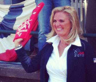 Ann Romney cheers on her dressage horse, Rafalca.