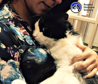 Bruce Almighty cuddles with his new adoptive mom.