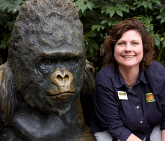 Dr. Hayley with gorilla Willie B. Statue