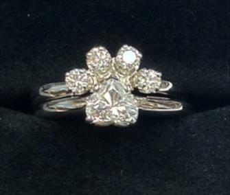 Mervis paw diamond engagement ring