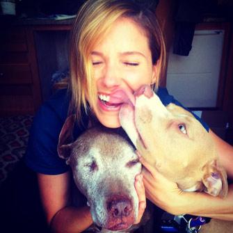 Actress Sophia Bush kisses her dogs