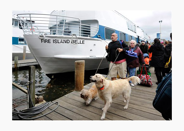 People and pets evacuate Fire Island for Hurricane Sandy