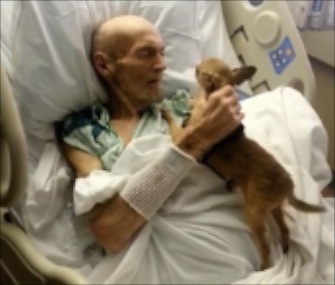 James Wathen was reunited with his dog Bubba in his Kentucky hospital bed.