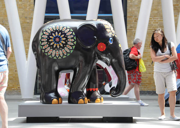 black painted elephant statue