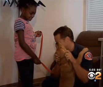 Firefighters donated a puppy to Amira Jones to help detect her seizures.