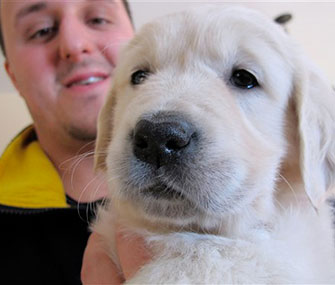 Trainer Jake Guell holds a Golden Retriever puppy who he'll train to become a therapy dog for teenager Teagan Marti.