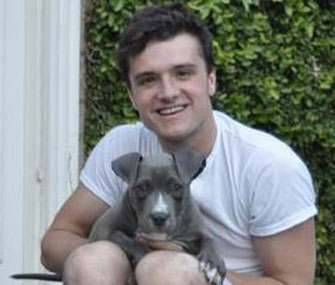 The Hunger Games actor Josh Hutcherson with his new puppy, Driver.