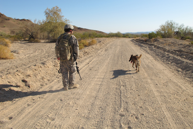 Raymond and Rex learn to work off leash together for the first time at the Yuma pre-deployment course.