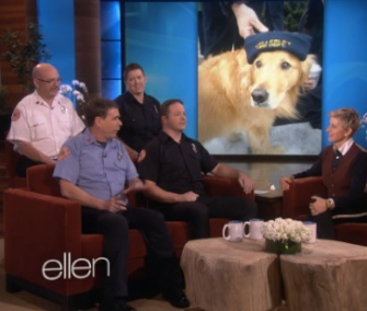 Ellen DeGeneres thanking a group of Boston-area firefighters for saving a Golden Retriever who fell through ice.