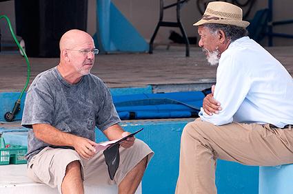 Director Charles Martin Smith on set