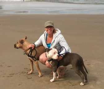 Lizz Smith stayed at a dog-friendly beach rental near her hometown of Portland, Ore., with Pit Bulls Kevyn and Squishy.