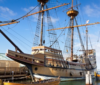 The Mayflower II, a replica of the original ship, is docked in Plymouth, Massachusetts.